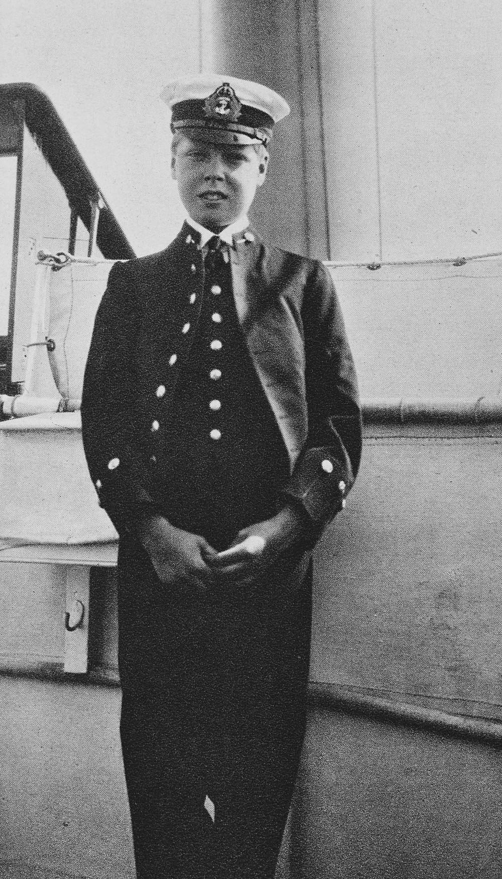 King Edward VIII when Prince Edward of Wales (1894-1972) circa 1907 . The Prince of Wales wearing Royal Navy uniform.