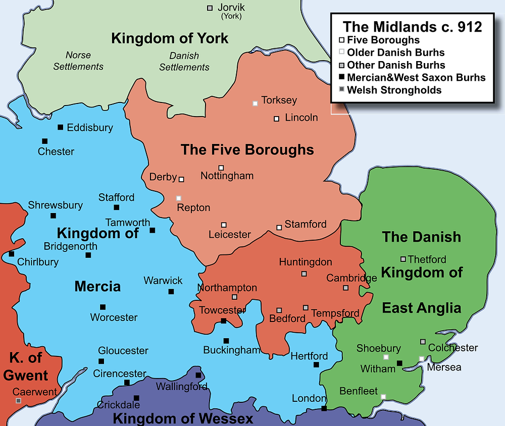 Map of England in 912