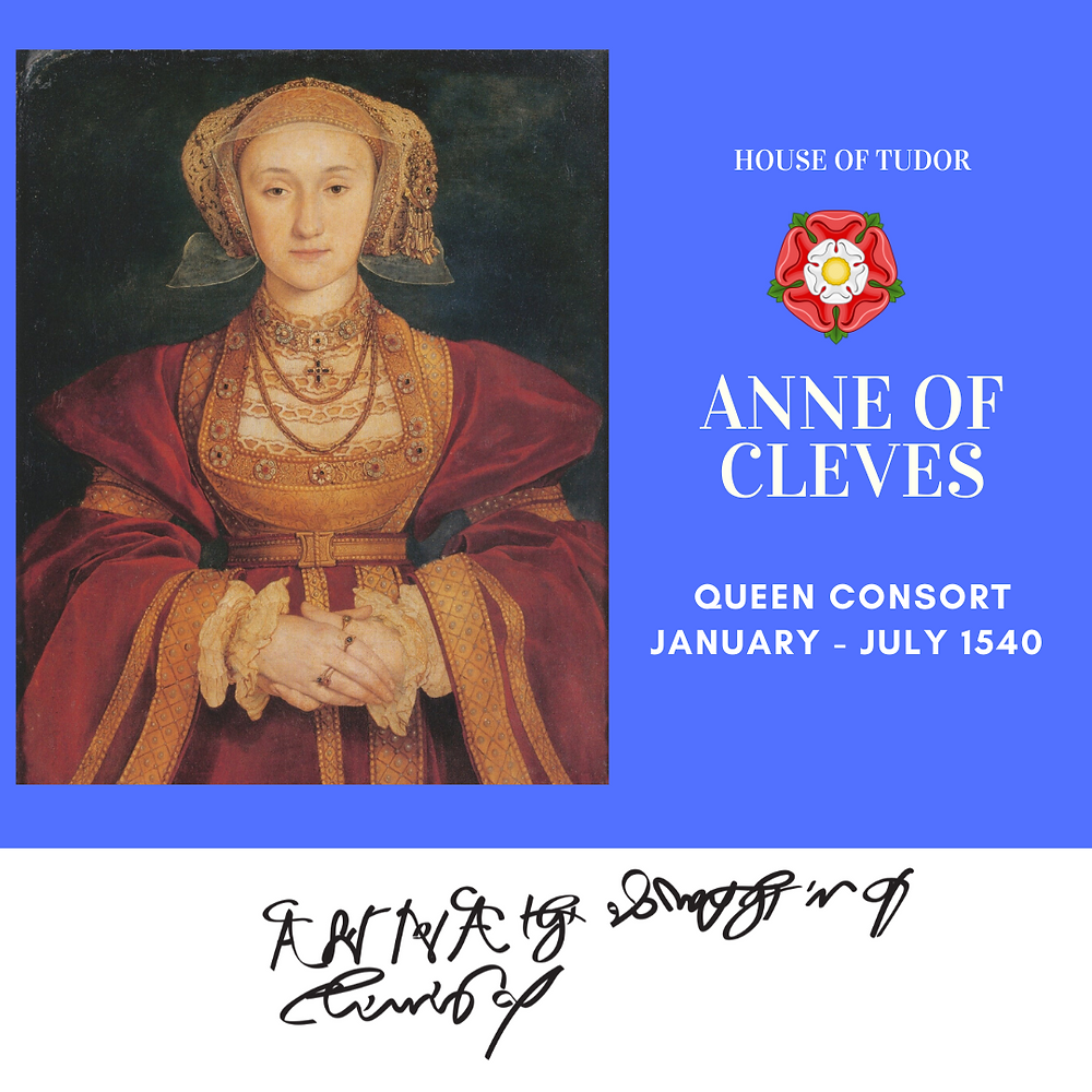 Anne of Cleves, Queen of England as the fourth wife of Henry VIII of England. Tudor History, Royal history.