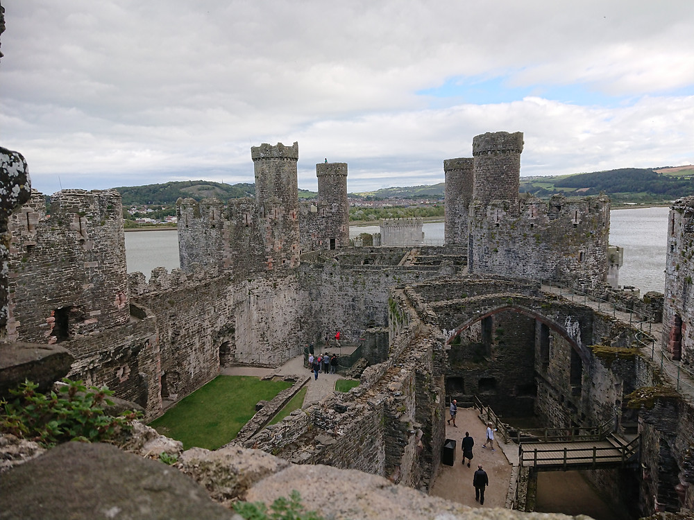 views from the south-west tower of Conwy castle, Conwy, North Wales