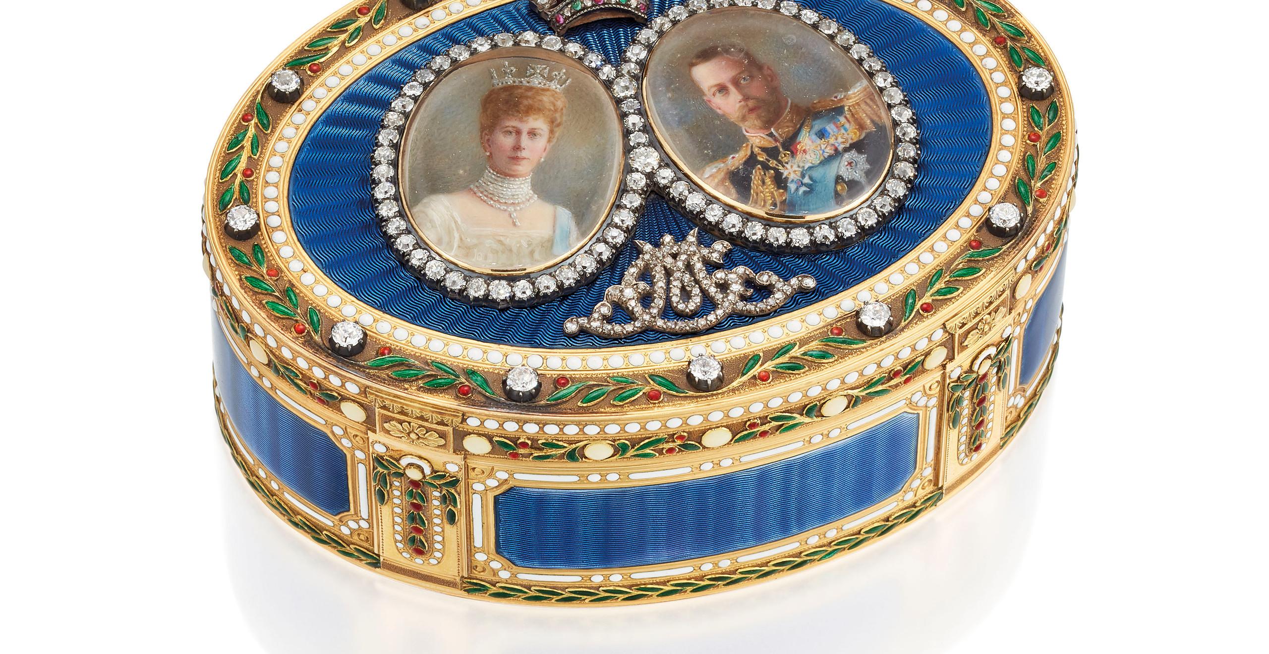 A GEORGE V JEWELLED ENAMELLED GOLD ROYAL PRESENTATION SNUFF-BOX  - mark of sebastian Garrard, London 1911