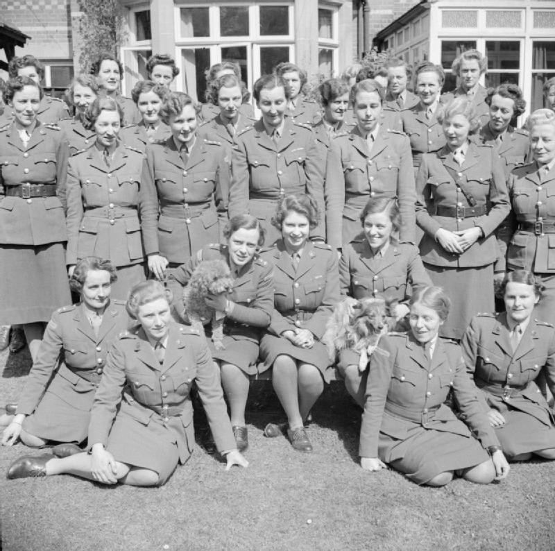 Princess Elizabeth (centre) with officers of the ATS Training Centre. April 1945