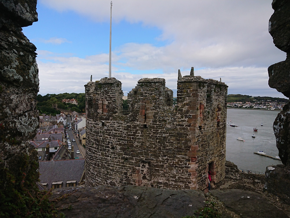 Conwy Castle, in view is the King's tower looking out to sea. Medieval castle built by Edward I king of England