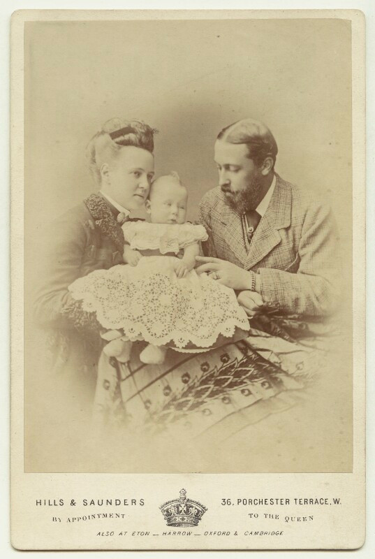 Marie Alexandrovna, Duchess of Edinburgh; Marie, Queen of Romania; Prince Alfred, Duke of Edinburgh and Saxe-Coburg and Gotha  by Hills & Saunders albumen cabinet card, 1875 NPG x33254  © National Portrait Gallery, London