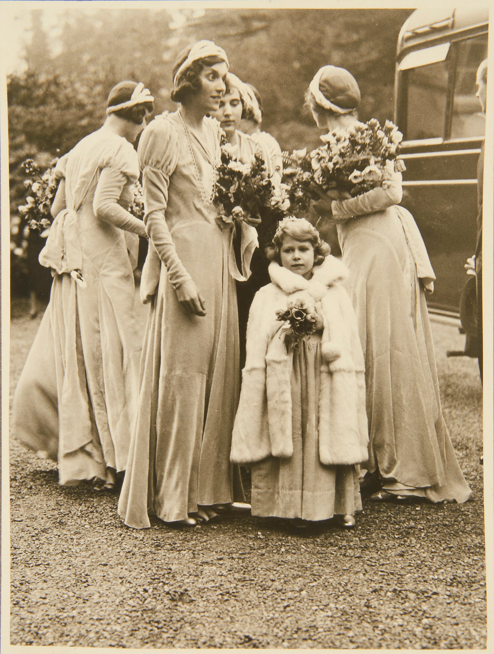 Princess Elizabeth & the bridesmaids 24 Oct 1931. Royal Collection Trust/(c) Her Majesty Queen Elizabeth II 2018