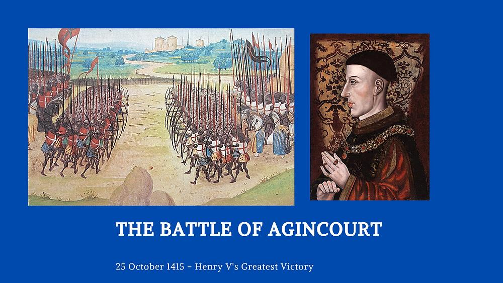 The Battle of Agincourt 1415 blog cover. King Henry V