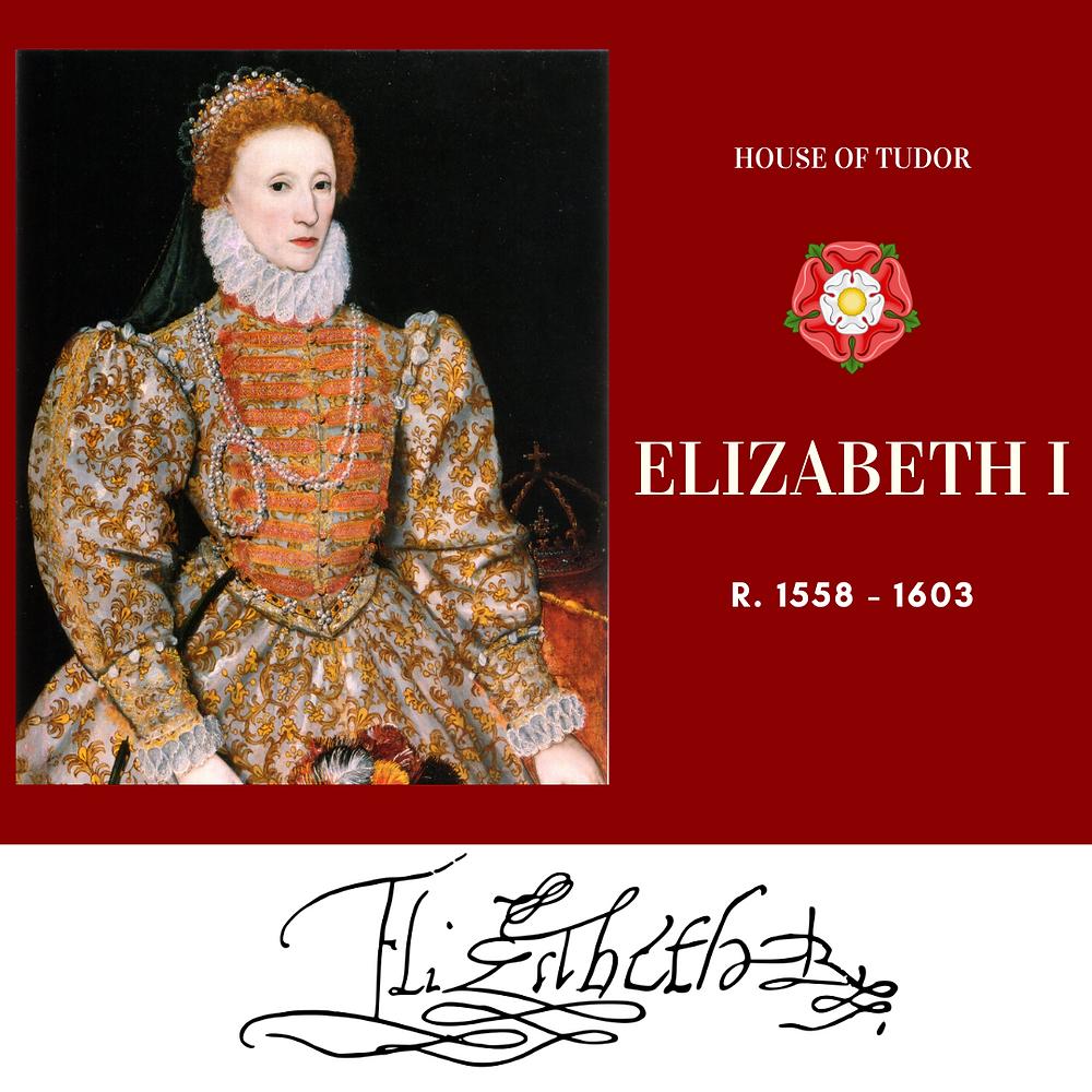 Elizabeth I, Queen of England, the last Tudor monarch. Tudor rose. Royal history