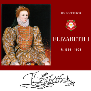Elizabeth I, Queen of England, the last Tudor monarch. Tudor rose. Royal history