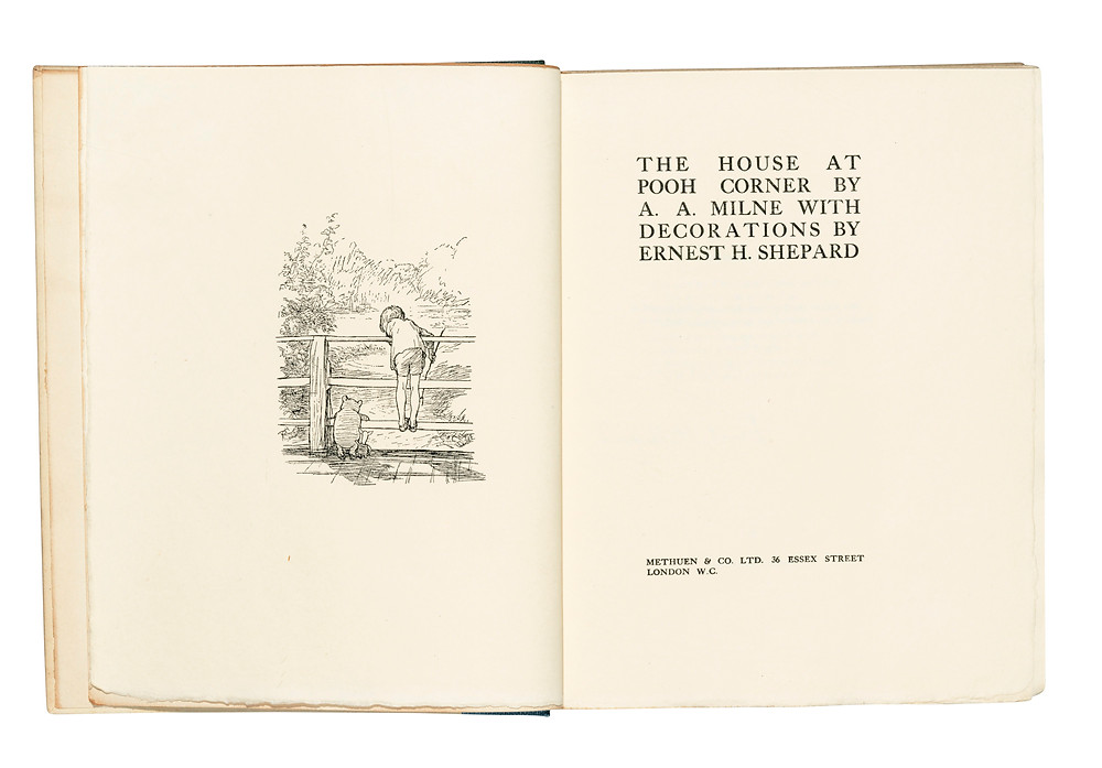 MILNE, Alan Alexander (author, 1882-1956) and Ernest Howard SHEPARD (illustrator, 1879-1976). Winnie-the-Pooh. London: Methuen, 1926. First edition, number 52 of 350 large-paper copies signed by the author and artist. A fine copy.  Quarto (223 x 175mm). Half title, folding map and illustrations by E. H. Shepard. Original dark blue cloth-backed paper boards, printed label on upper cover, uncut (faint spotting to covers at top corner). Provenance: Gloucester (bookplate).