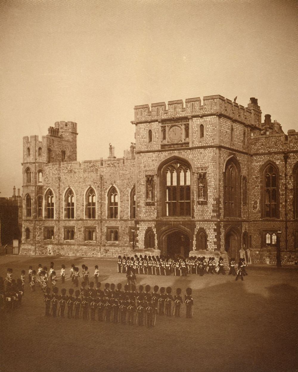 Changing the Guard at Windsor Castle c.1902 by Queen Alexandra. Royal Collection Trust/(c) Her Majesty Queen Elizabeth II 2019. Photo taken by Queen Alexandra when Princess of Wales. Historic photo of Windsor Castle
