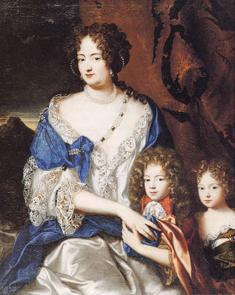 Sophia is pictured with her two children, George Augustus (later king George II) & Sophia Dorothea, who was the mother of Frederick the Great.. Portrait painted by Dutch artist Jacques Vaillant