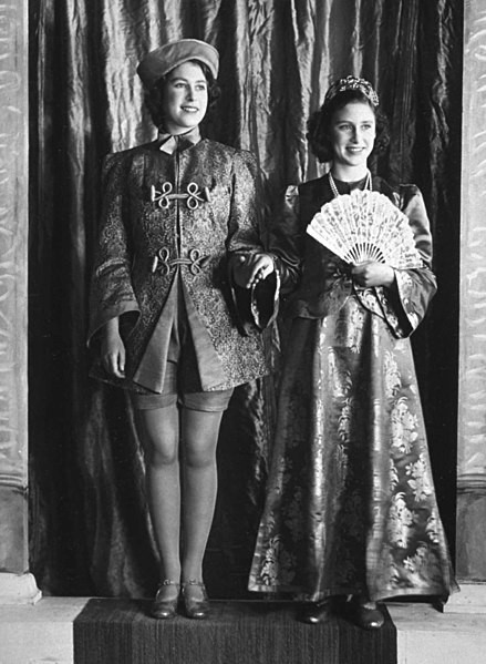 photograph of the Queen and Princess margaret in pantomine outfirs at Windsor