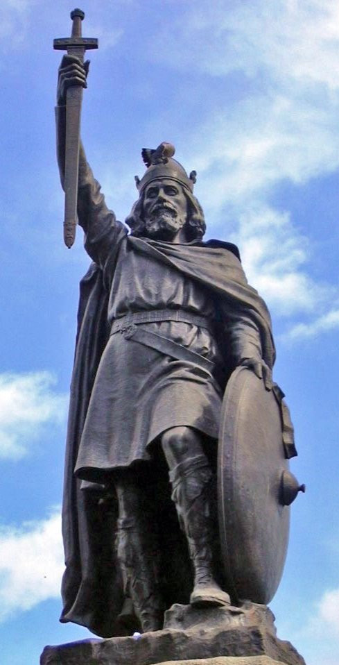 Statue of Alfred the Great at Wantage, Oxfordshire. King of Wessex