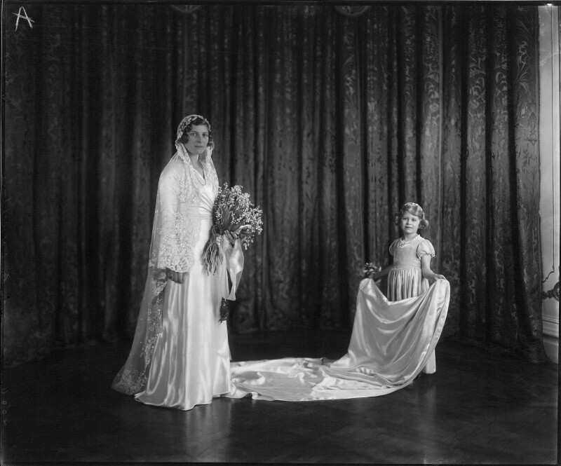 Lady May Helen Emma Abel Smith (née Cambridge) and Princess Elizabeth (Queen Elizabeth II) as her bridesmaid  by Vandyk 12 x 10 inch glass plate negative, 24 October 1931 NPG x32997  © National Portrait Gallery, London