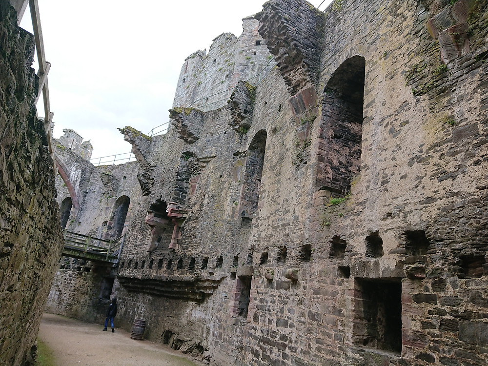 Remains of the great hall, at Conwy castle, Conwy, North Wales. Medieval stronghold, Royal history