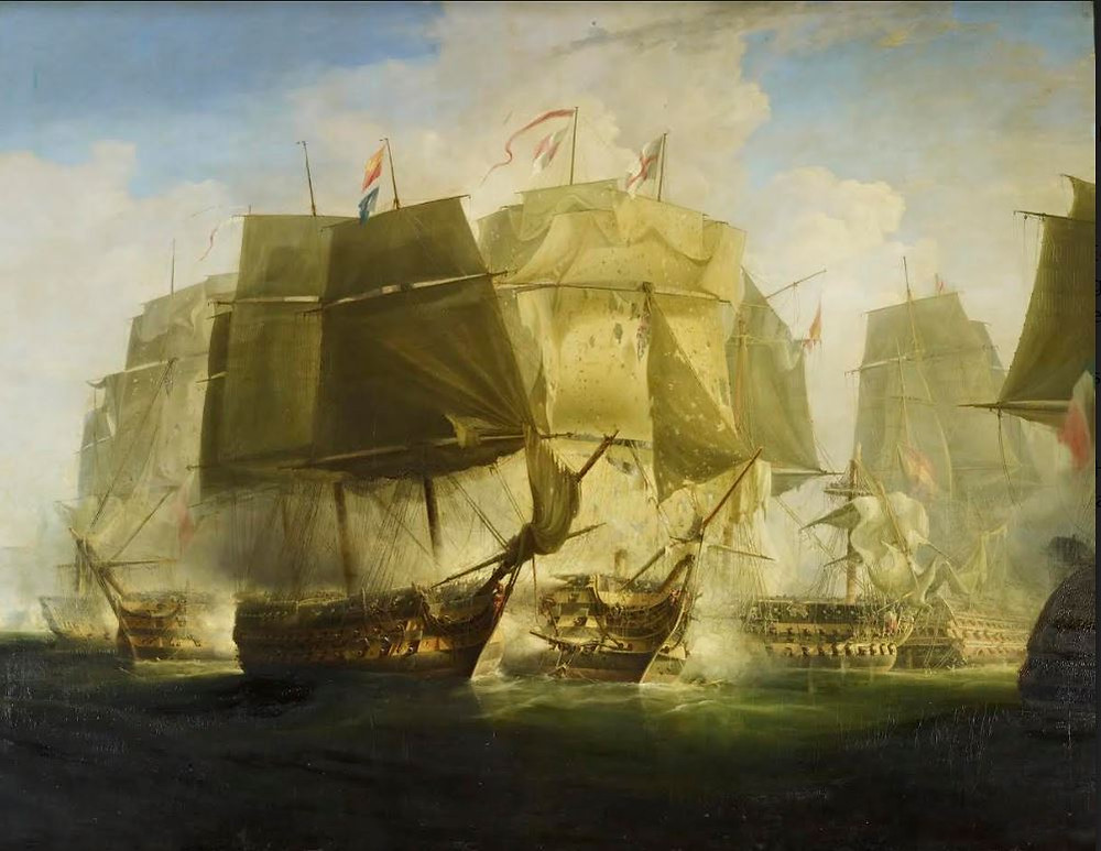 The Battle of Trafalgar: I. The Beginning of the Action: The 'Victory' Breaking the Line Signed and dated 1833,