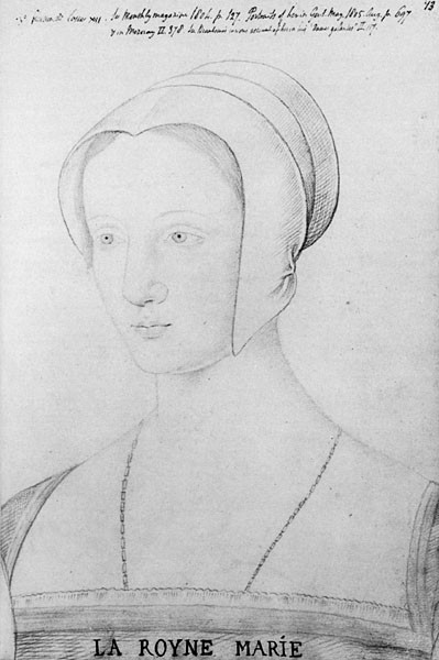 A sketch of Mary Tudor during her brief period as queen of France