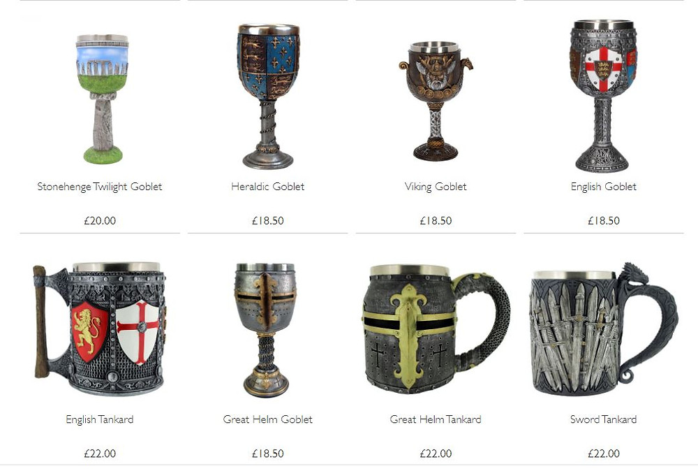 Tankards and goblets at the English Heritage shop