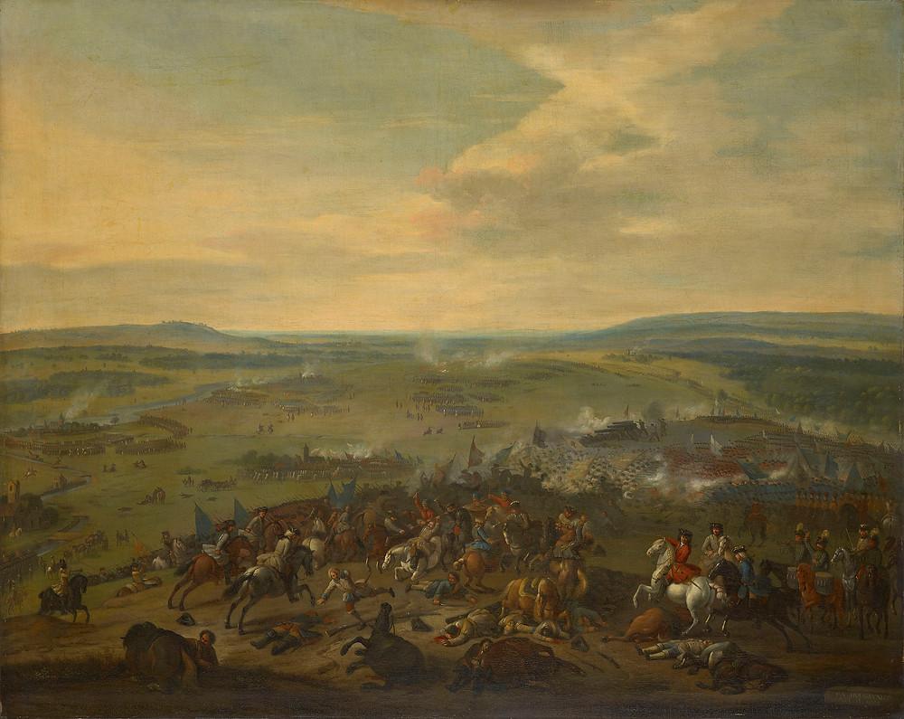 The Battle of Blenheim, 1704. Copy after Jan van Huchtenburgh Royal Collection Trust/© Her Majesty Queen Elizabeth II 2019. Military Art
