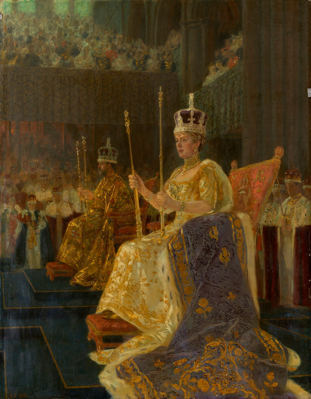 King George V & Queen Mary Enthroned, by Laurits Tuxen