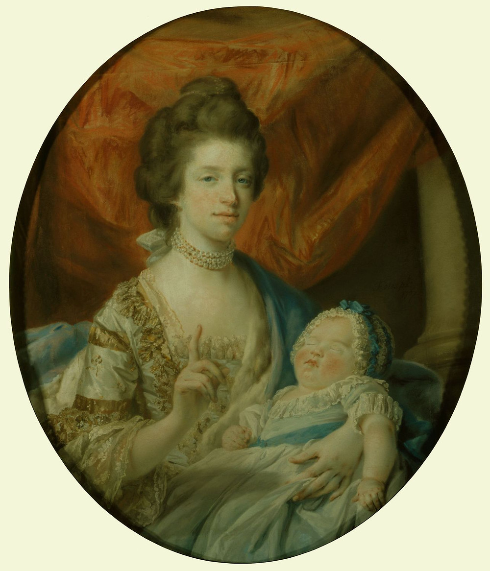 Queen Charlotte with Charlotte, Princess Royal Signed & dated 1767, by FRANCIS COTES, Royal Collection Trust/© Her Majesty Queen Elizabeth II 2018
