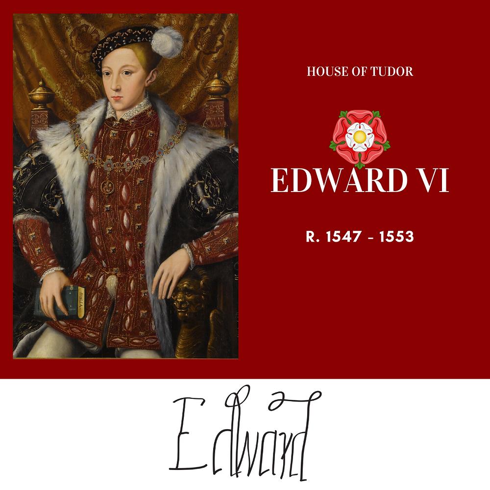 Edward VI king of England, only surviving son of Henry VIII. House of Tudor. Royal history. Tudor rose