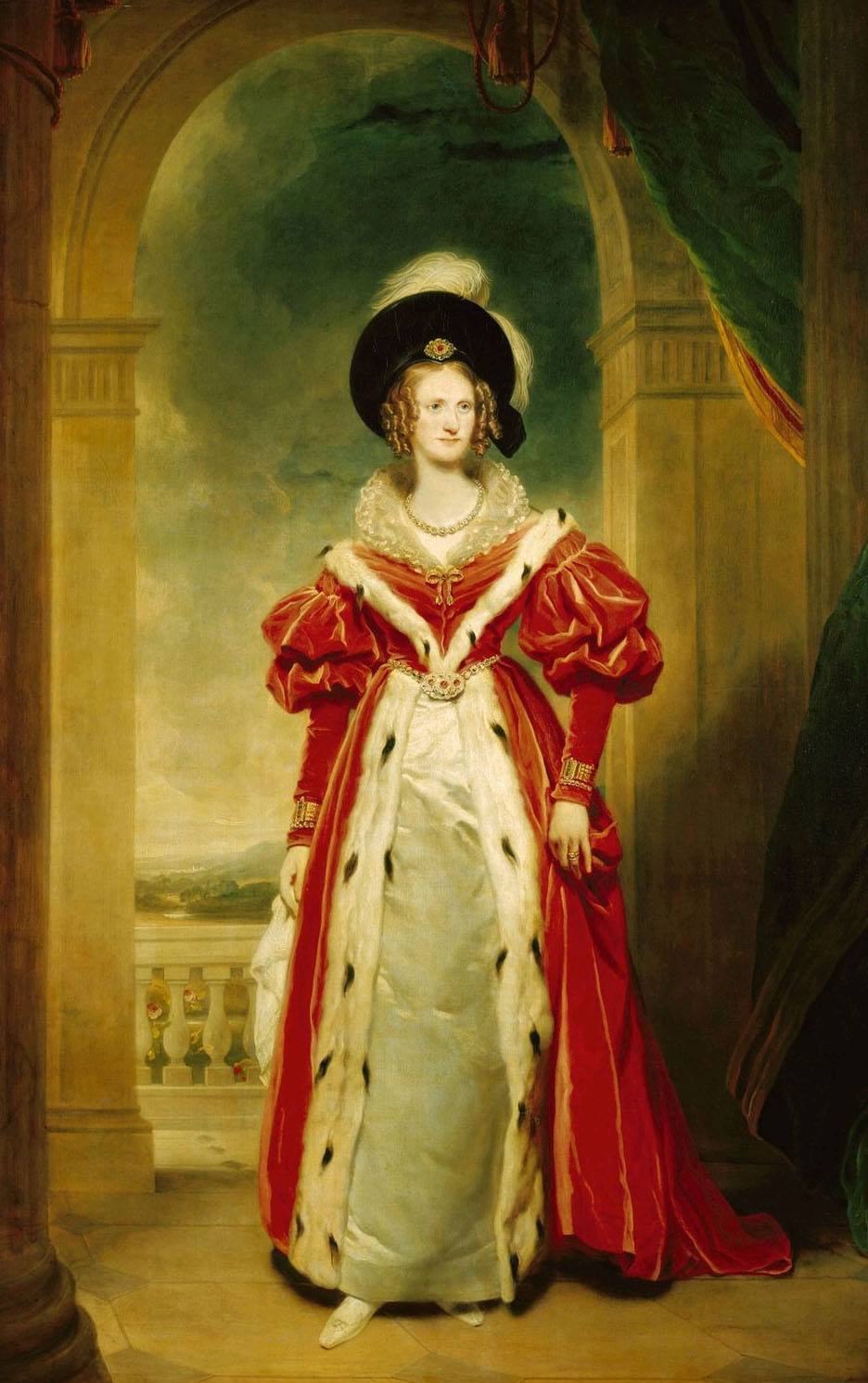 Historic portrait of Queen Adelaide, queen consort to King George II, from the Royal Collection, painted by Martin Archer Shee. Current location; Buckingham Palace, Grand staircase.