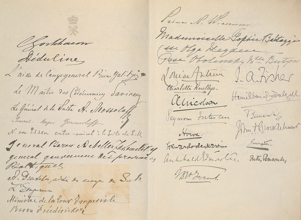 Autographs collected at Reval Jun 1908 . A collection of historic signatures collected by Queen Alexandra during a historic meeting of British & Russian royal families.  Royal Collection Trust/(c) Her Majesty Queen Elizabeth II 2019