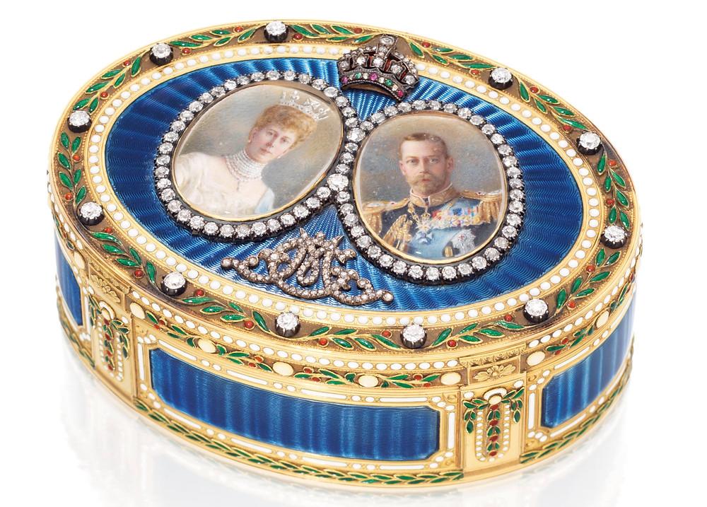 A George V jewelled enamelled gold royal presentation Snuff-box  by Mark of Sebastian Garrard, London, 1911 . sale by Christies