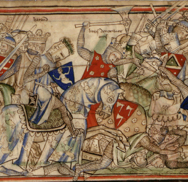 The Battle of Stamford Bridge and the death of Harald Hardrada (wielding a battleaxe). By UnknownUnknown author (http://www.lib.cam.ac.uk/cgi-bin/Ee.3.59/bytext) [Public domain or Public domain], via Wikimedia Commons