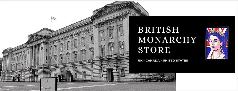Our British monarchy stores, UK, Canada, & the United States. Buckingham  Palace, Queen Elizabeth II, Union Jack flag.