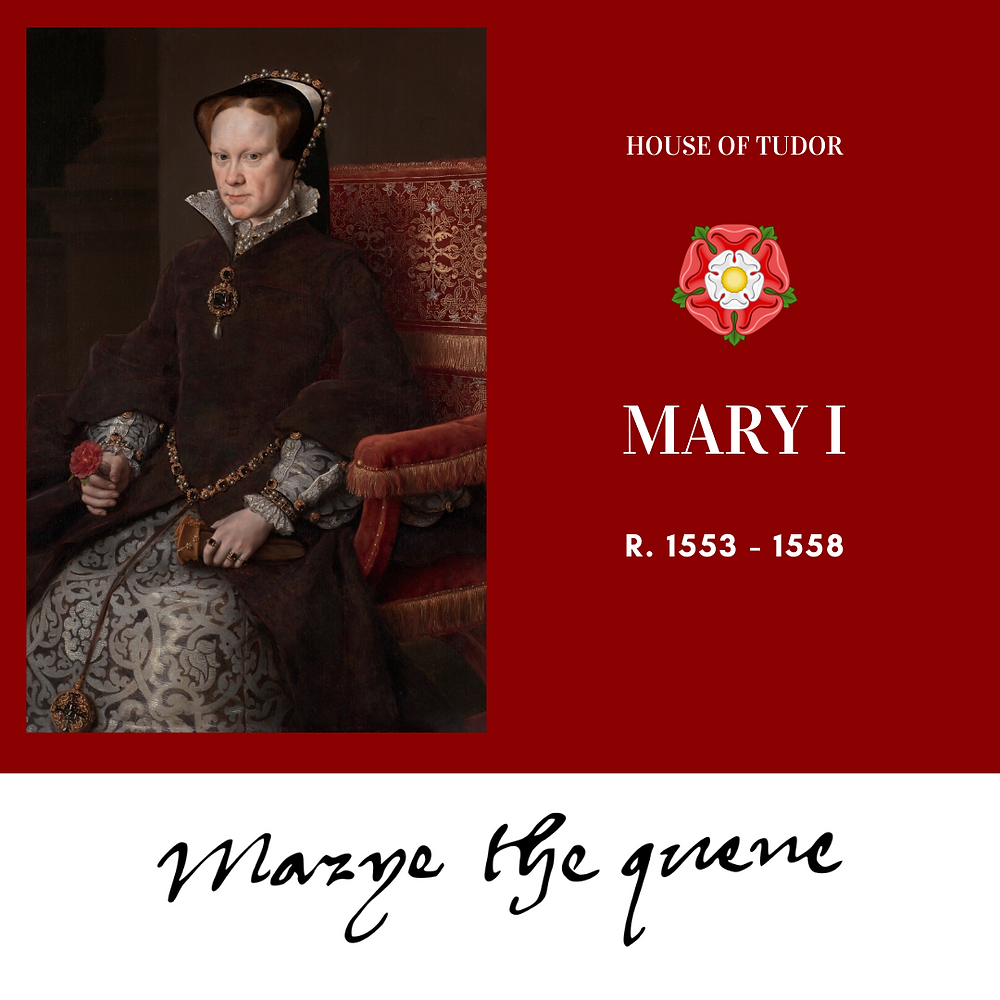 Queen Mary I of England, Tudor Queen, known as Bloody Mary. Tudor rose. Royal history