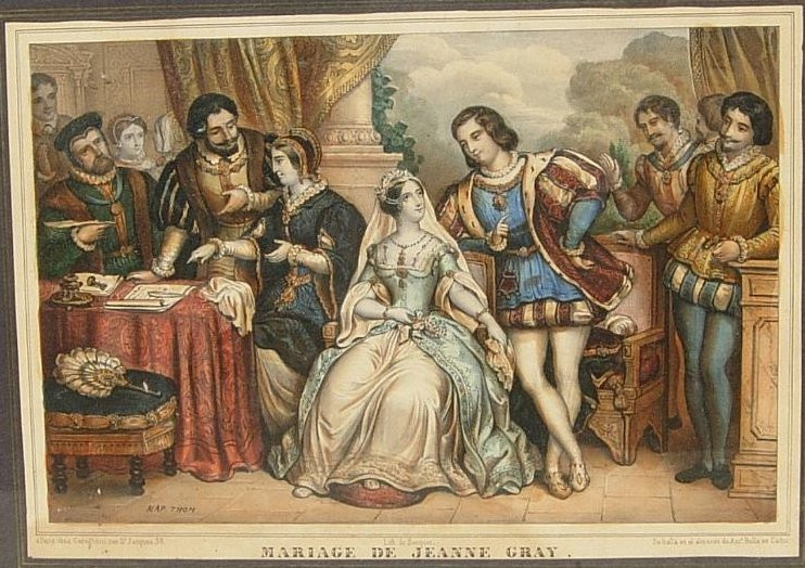 Victorian painting portraying the wedding of Lady Jane Grey and Lord Guildford Dudley in 1553