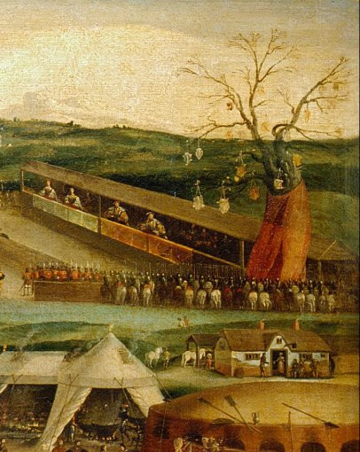 The tree of honour at the Field of the cloth of gold summit, in 1520.Next to the tournament fields was the Tree of Honour, an artificial tree built for the summit & covered with gilt. The tree held shields, which indicated the different competitions of the tournament, & if knights wished to participate then they showed their interest by touching their lances on their desired rival's shields.