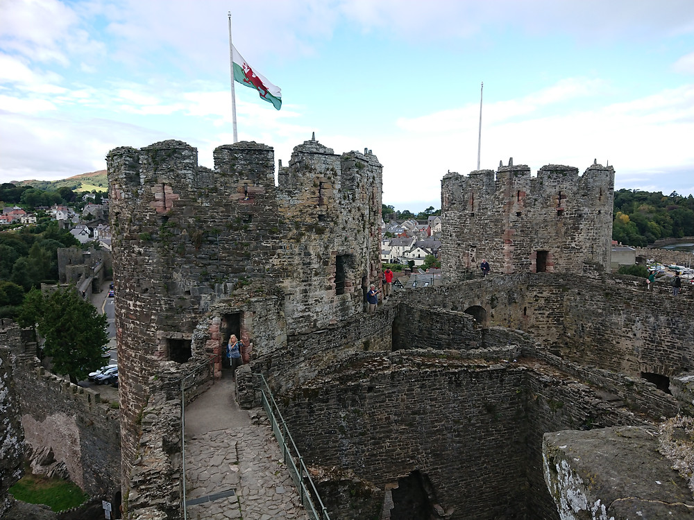 Views of Conwy castle, Conwy, North Wales, in view are the Chapel Tower on the left and the Kings Tower on the right. Royal history