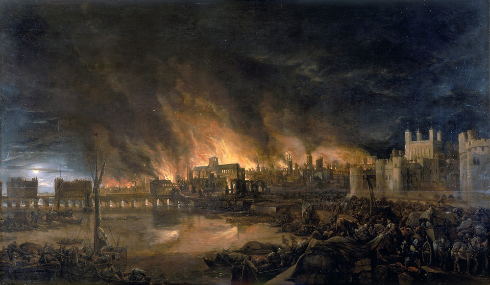Painting of The Great Fire of London, depicted by an unknown painter (1675), as it would have appeared from a boat in the vicinity of Tower Wharf on the evening of Tuesday, 4 September 1666. To the left is London Bridge; to the right, the Tower of London. St. Paul's Cathedral is in the distance, surrounded by the tallest flames.