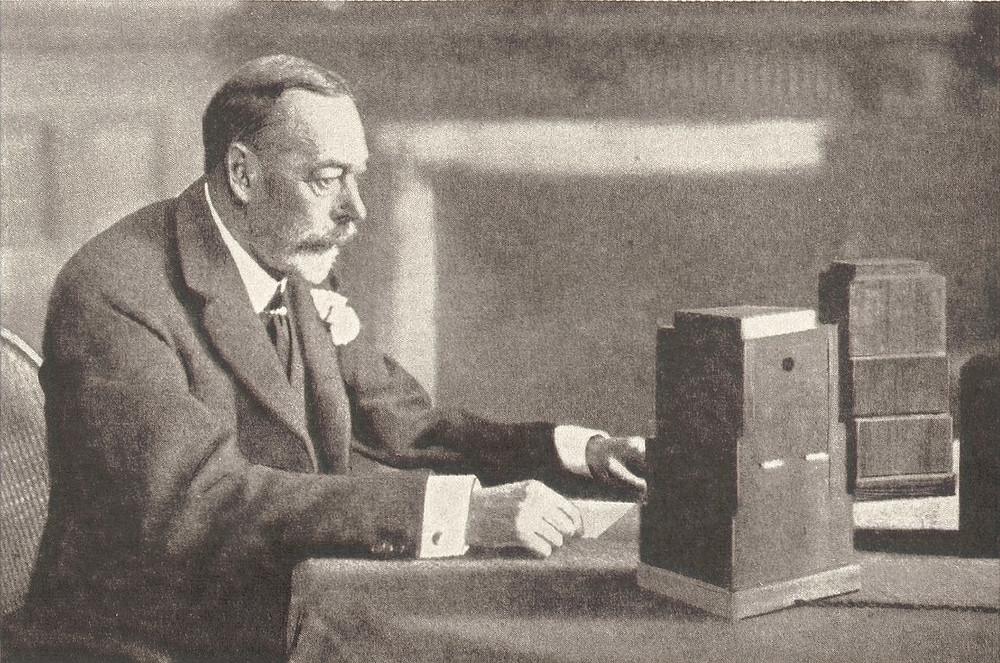 King George V delivering his Christmas broadcast, 1934