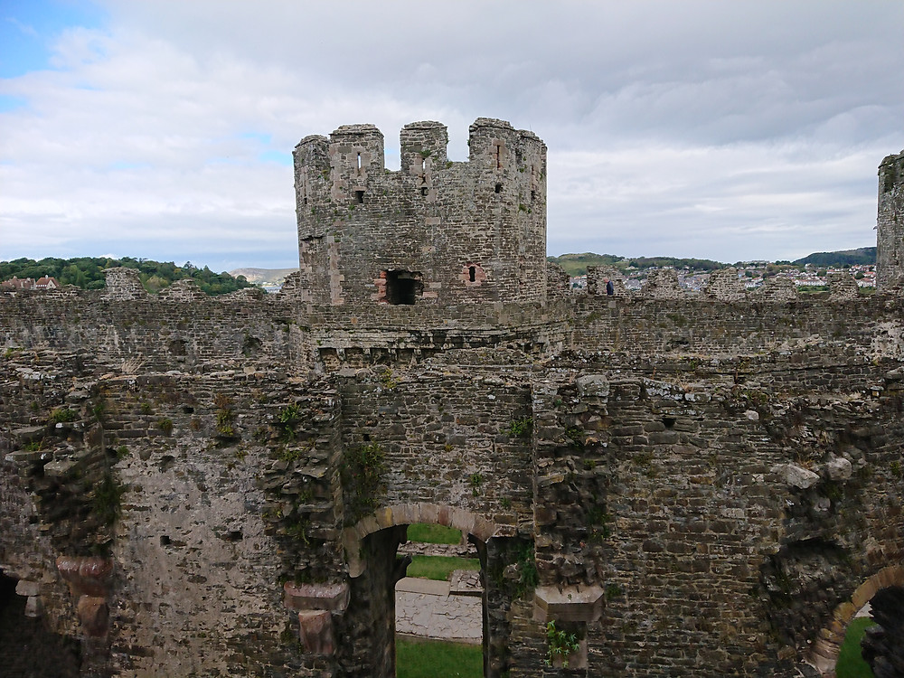 Part of Conwy castle, the prison Tower can be seen. Royal history, Medieval castle, Conwy Castle, built be king edward I of England