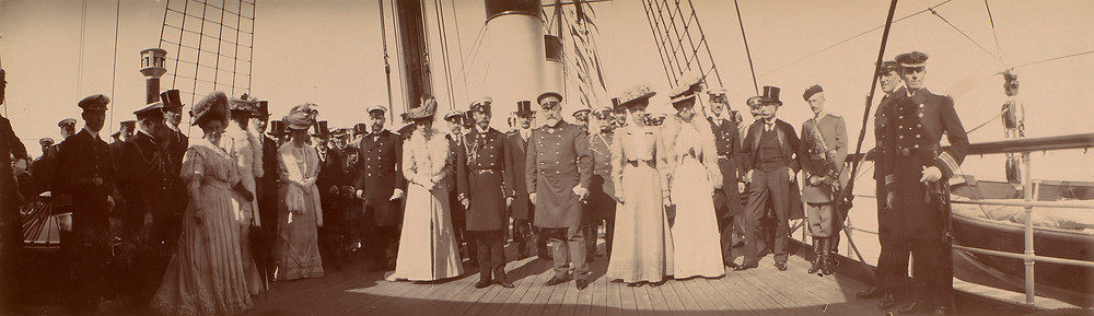 Group photograph of members of the British & Russian royal families Jun 1908. Historic photo