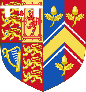 The Arms of HRH, the Duchess of Cambridge (born 1982). The coat of arms depict the arms of her husband (Prince William, the Duke of Cambridge) impaled with those of her father Michael Middleton.
