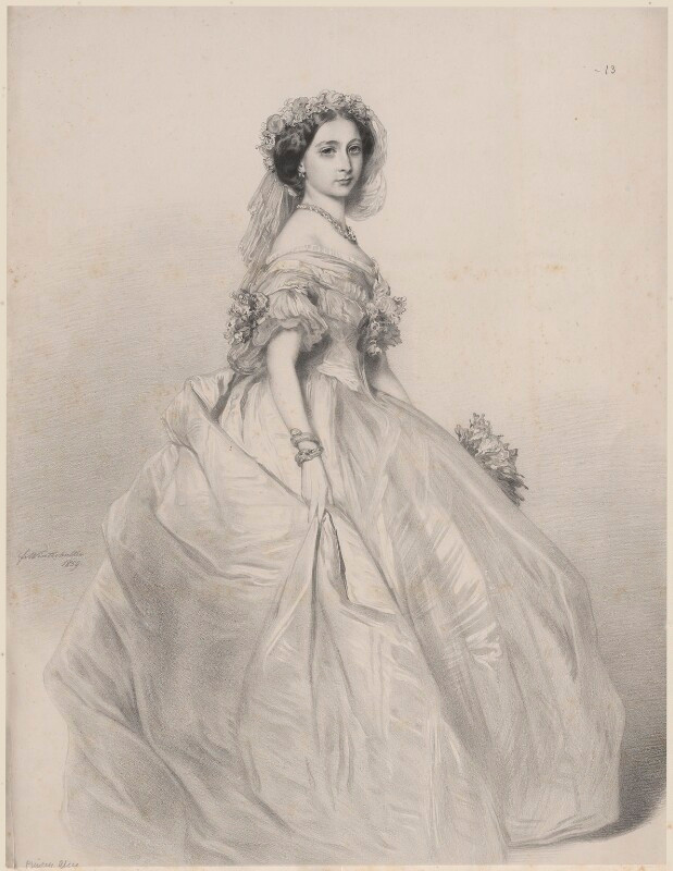 Princess Alice, Grand Duchess of Hesse portrait  by Richard James Lane, after Franz Xaver Winterhalter lithograph, (1859). Royal Collection Trust/© Her Majesty Queen Elizabeth II 2020