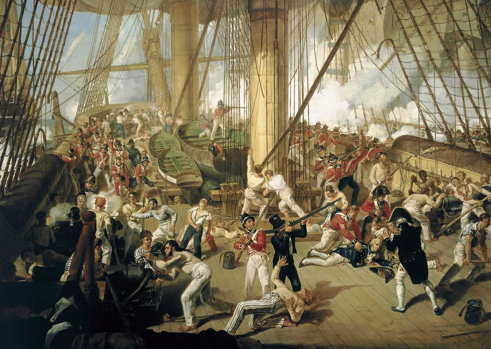 The Fall of Nelson, Battle of Trafalgar, 21 October 1805., by Denis Dighton