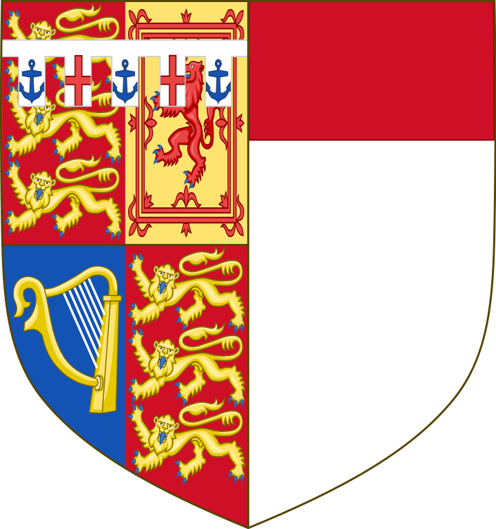 Coat of Arms of Katharine, Duchess of Kent (born 1933), the wife of Prince Edward, Duke of Kent. Depicting HRH The Duke of Kent's arms impaled with those of her father, Sir William Worsley, 4th Baronet.