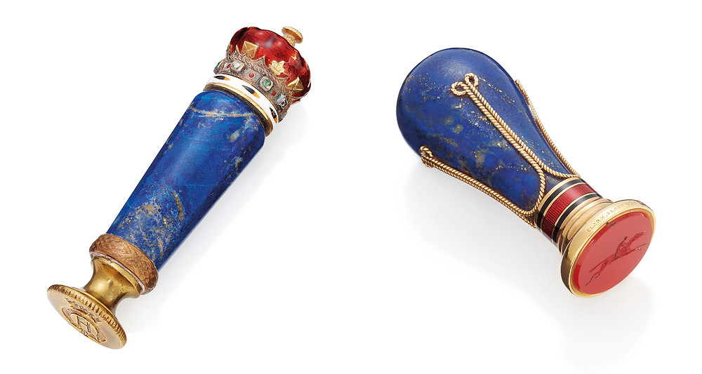 TWO ENAMELLED GOLD-MOUNTED HARDSTONE DESK-SEALS Property from descendants of Their Majesties King George V and Queen Mary on sale via Christies, London