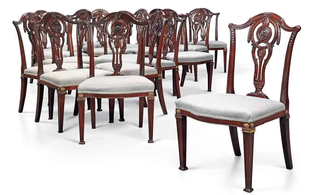 A SET OF NINETEEN GEORGE III MAHOGANY DINING-CHAIRS   CIRCA 1775, IN THE MANNER OF JOHN LINNELL  Royal history, Royal family, King George III. Christies sale