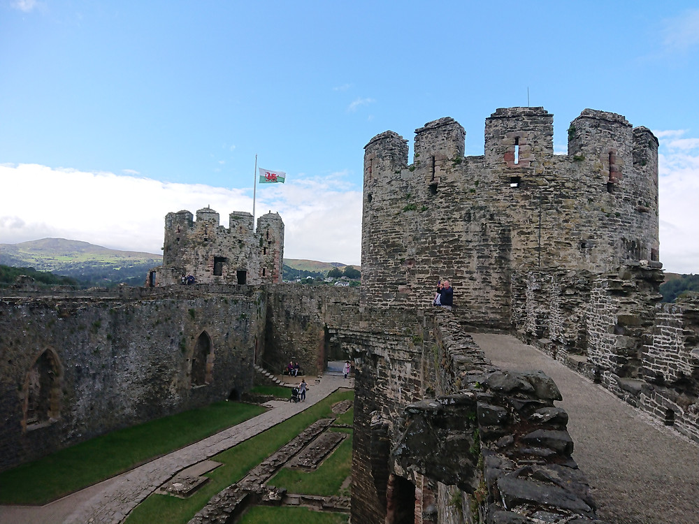 Conwy castle, Conwy, North Wales, a view from the wall walk, the Prison tower can be seen in front, and the Chapel tower further to the right