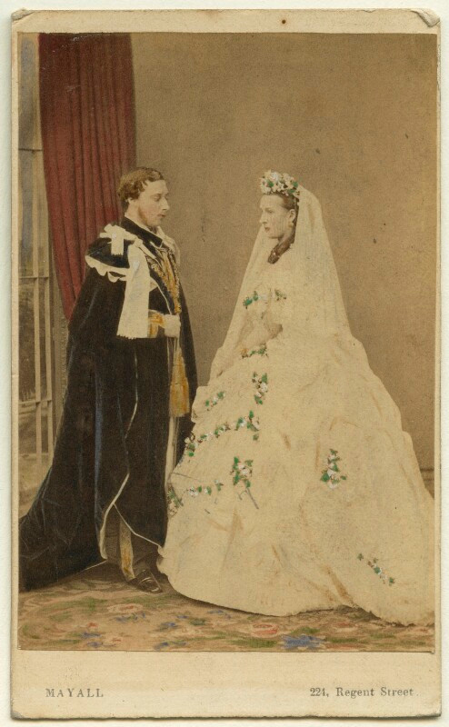 King Edward VII; Queen Alexandra  by John Jabez Edwin Mayall hand-coloured albumen carte-de-visite, 18 March 1863 NPG Ax46733  © National Portrait Gallery, London