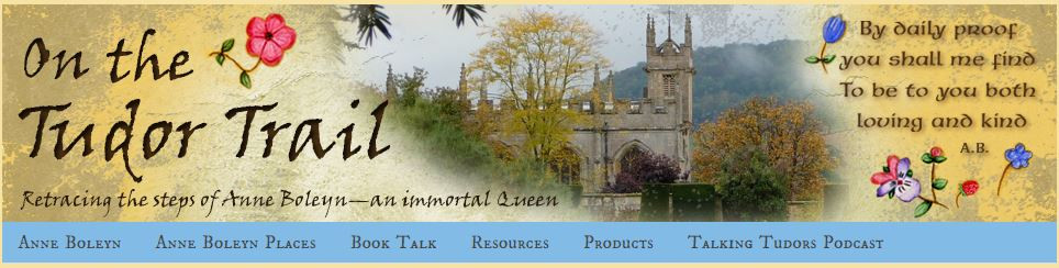 Link banner to On the Tudor Trail history blog. about Anne Boleyn, Queen of England