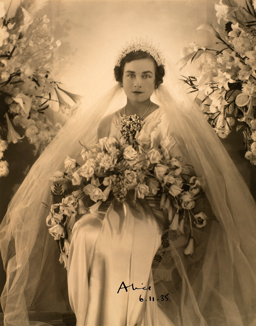 Princess Alice, Duchess of Gloucester (1901-2004) on her wedding day 6 Nov 1935. Royal Collection Trust/(c) Her Majesty Queen Elizabeth II 2018