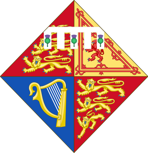 Shield of arms of Princess Eugenie of York, daughter of Prince Andrew & Sarah, Duchess of York.